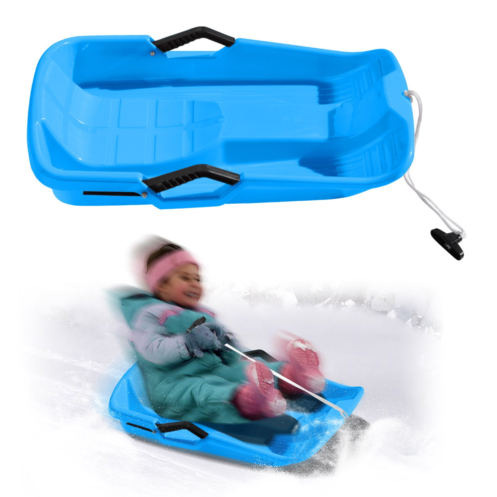 BenefitUSA Snow Kids Winter Toboggan Sled Downhill Sprinter Sledding Board Seat (Blue)