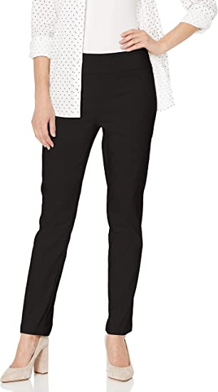 Women With Control Regular Pull On Slim Leg Pants Size L White Color