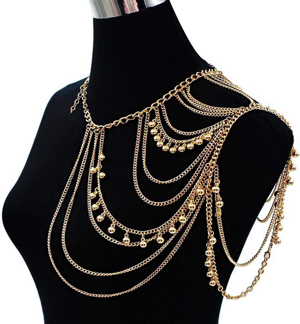 Waist Body Chain Gold Body Jewelry Shoulder Body Chain Festival Shoulder Necklace Fashion Body Chain, Body Jewelry Chain Set