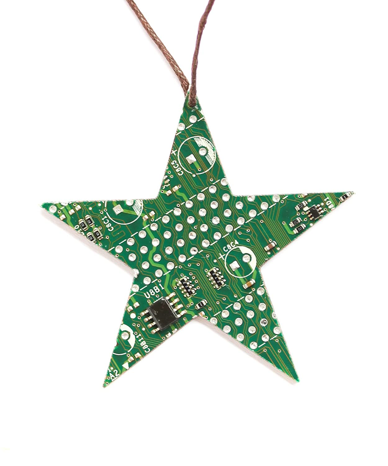 Amazon.com: Green Star Christmas Tree Ornament, recycled circuit ...