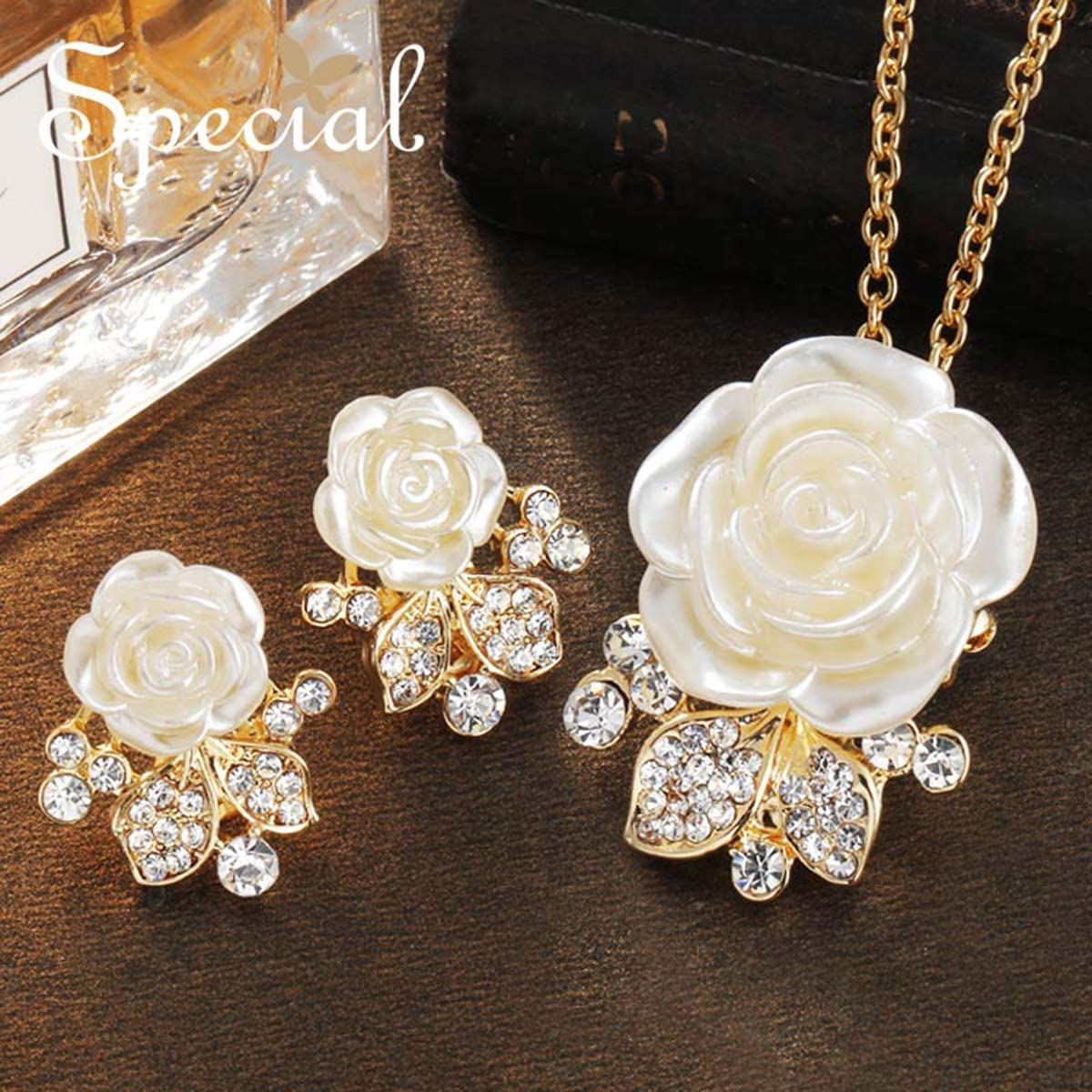Onlyfo Diamond Accent White Rose Pendant Necklace Jewelry Box,Rose Necklace Women