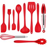 iLOME Silicone Spatula Utensil Set Heat-Resistant Non-Stick Cooking Baking Utensils with Hygienic Solid Coating Spatula Set 10 Pieces(Red)