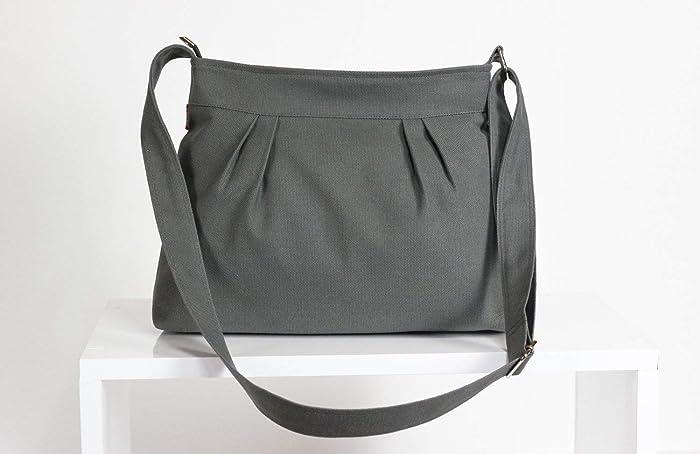 ebcc72a039 Gray Bag Canvas Purse Pleated Bag For Women Gift Daily Use Shoulder Bag  Evening Bag Washable Handbag Bags Diaper Bag Eco-Friendly Fabric hippirhino  ...
