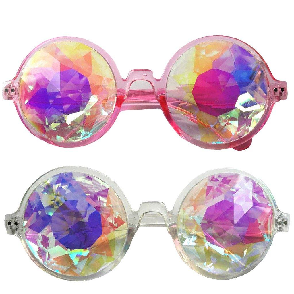 Set of 2pcs Festivals Kaleidoscope Glasses Rainbow Prism Sunglasses Goggles