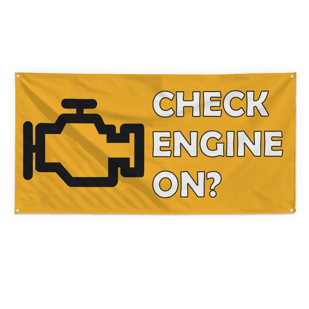 Check Engine Light On #3 Outdoor Fence Sign Vinyl Windproof Mesh Banner With Grommets - 3ftx6ft, 6 Grommets by Sign Destination