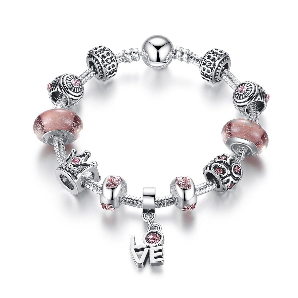 Morsun Reine Rose Bracelet Breloques Femme en Argent Plaqué Bijoux Fantaisie Cadeau de Noël 20cm(7.87')