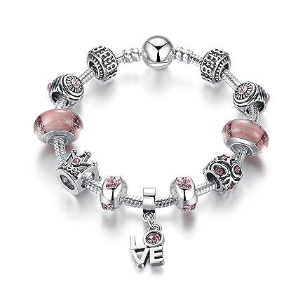 Reine Rose Bracelet Breloques Pour Fille-Argent Plaqué Et De Zirconium-Bijoux  Soldes,IdéE Cadeau 18cm(7.08