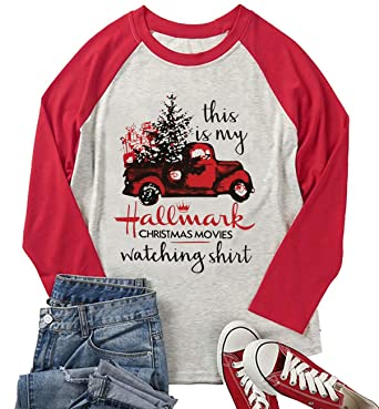 Women Plus Size Long Sleeve Raglan T Shirt Hallmark Christmas Movies Casual  Loose Tees Christmas Truck 3a5c91bc16