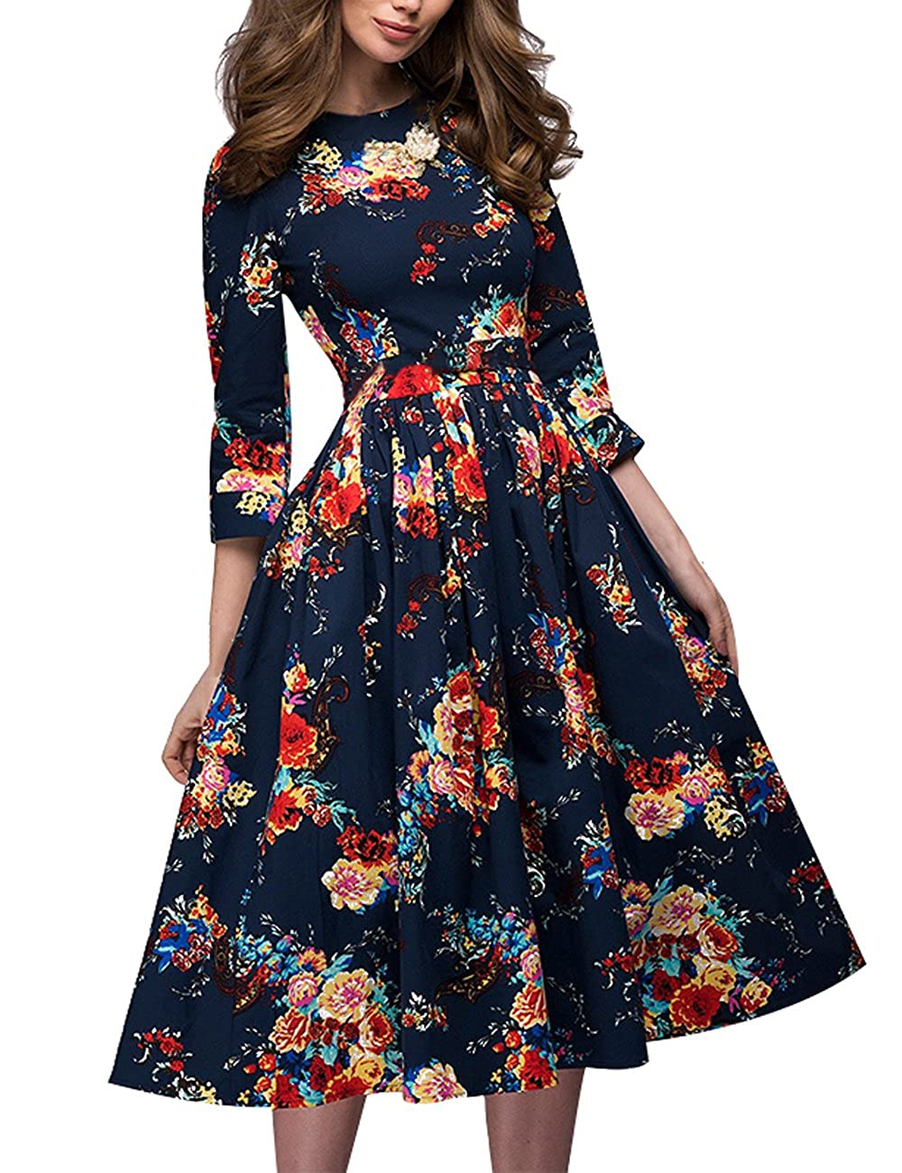 972e19f7ed65 O Neck,Three Quarter Sleeve,A line,Mid Length Dress,Floral Print Suitable  for Spring,Autumn and Winter Season Occasion:Party,Office,Cocktail,Work,Holiday  ...