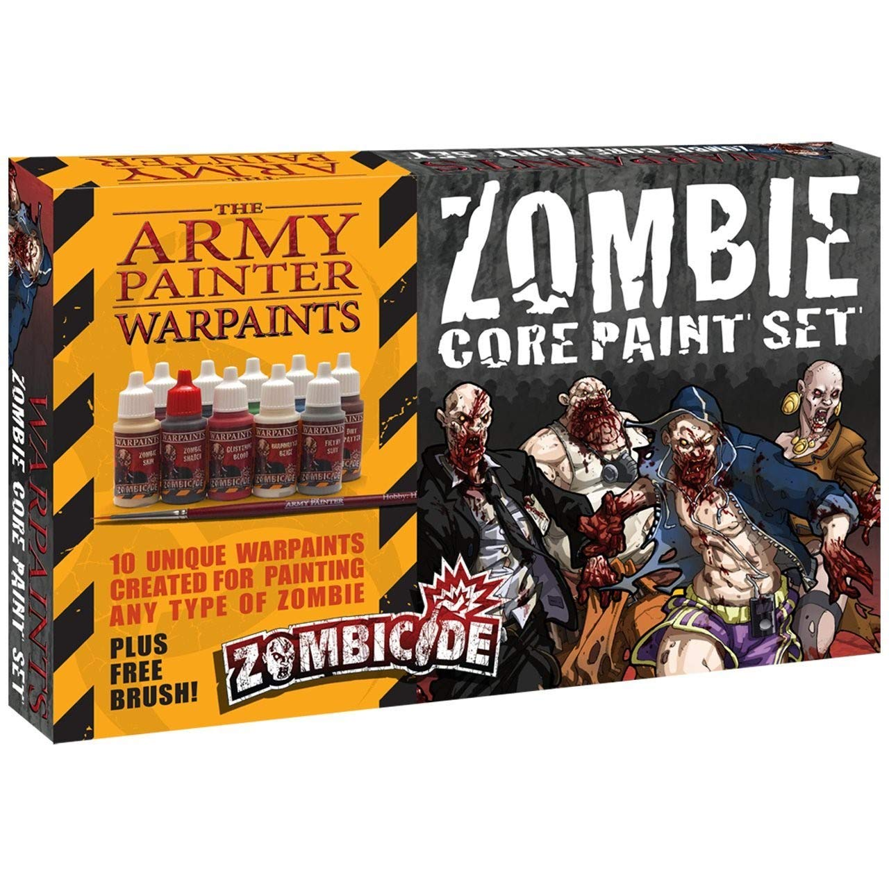 The Army Painter Warpaints Starter Paint Set with Free Paintbrush - Zombie Miniature Painting Set, 10 Dropper Bottles of Zombicide Paints for Zombicide Board Games - Zombicide Core Paint Set WP8007