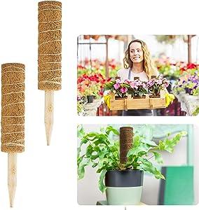 Alphatool 2 Pcs 12 Inches Coir Totem Pole- Coir Moss Totem Pole Coir Moss Stick for Creepers Plant Support Extension, Climbing Indoor Plants (12'' Long)