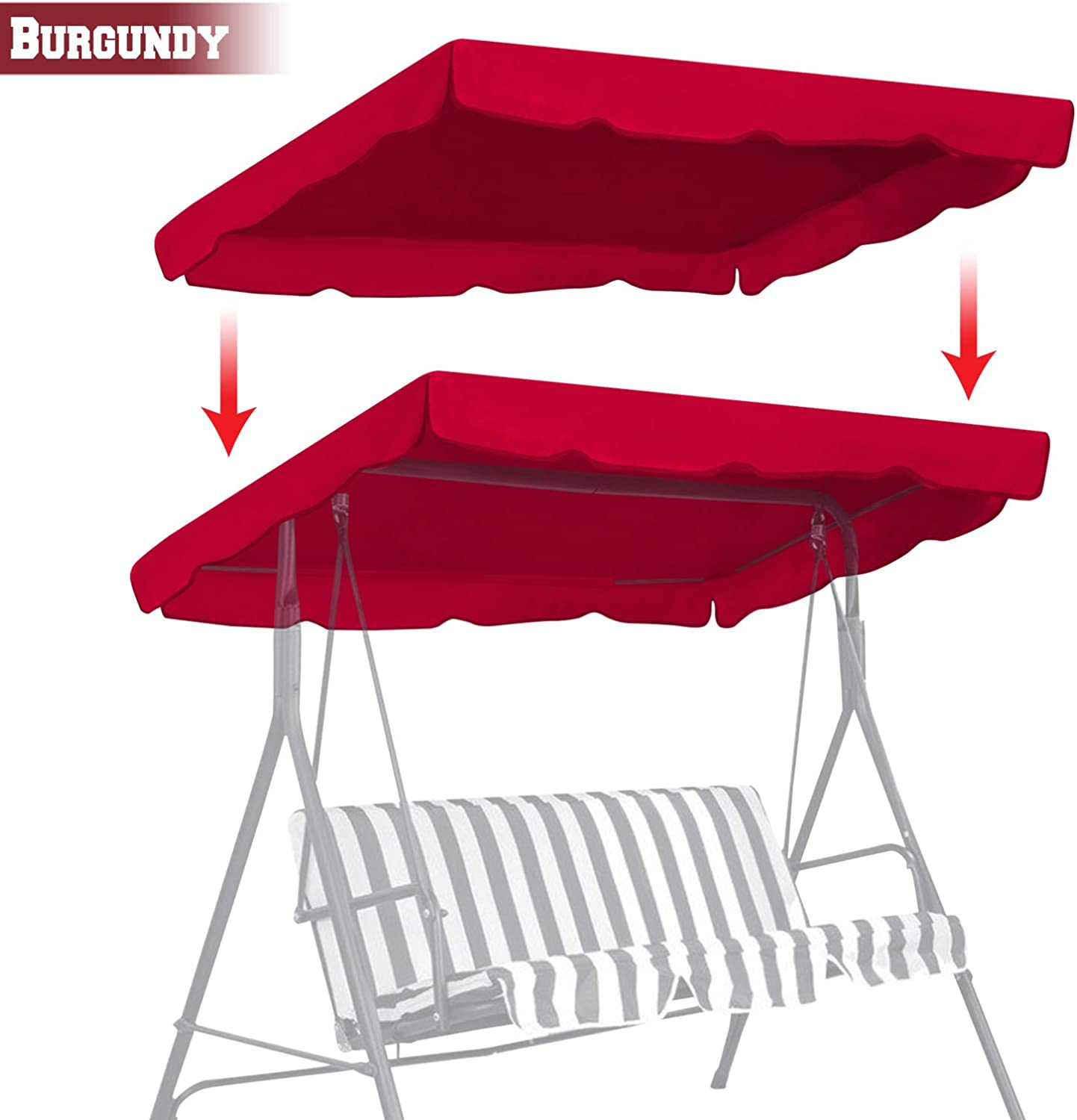 "BenefitUSA Patio Outdoor 77""x43"" Swing Canopy Replacement Porch Top Cover Seat Furniture (Burgundy)"