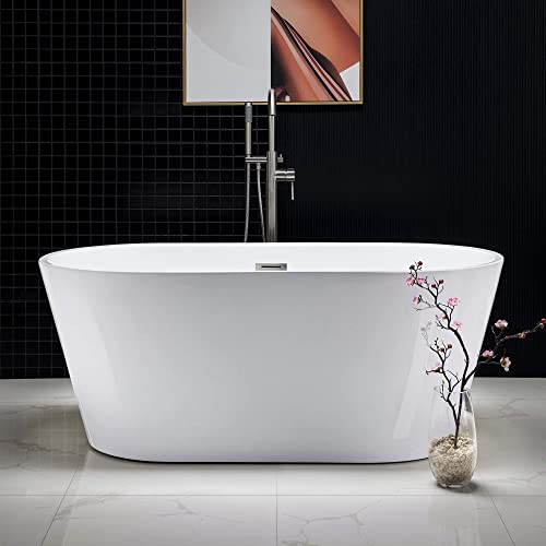 Woodbridge Acrylic Freestanding Bathtub Contemporary Soaking Tub with Brushed Nickel Overflow and Drain BTA1514-B,White, B-0014 59