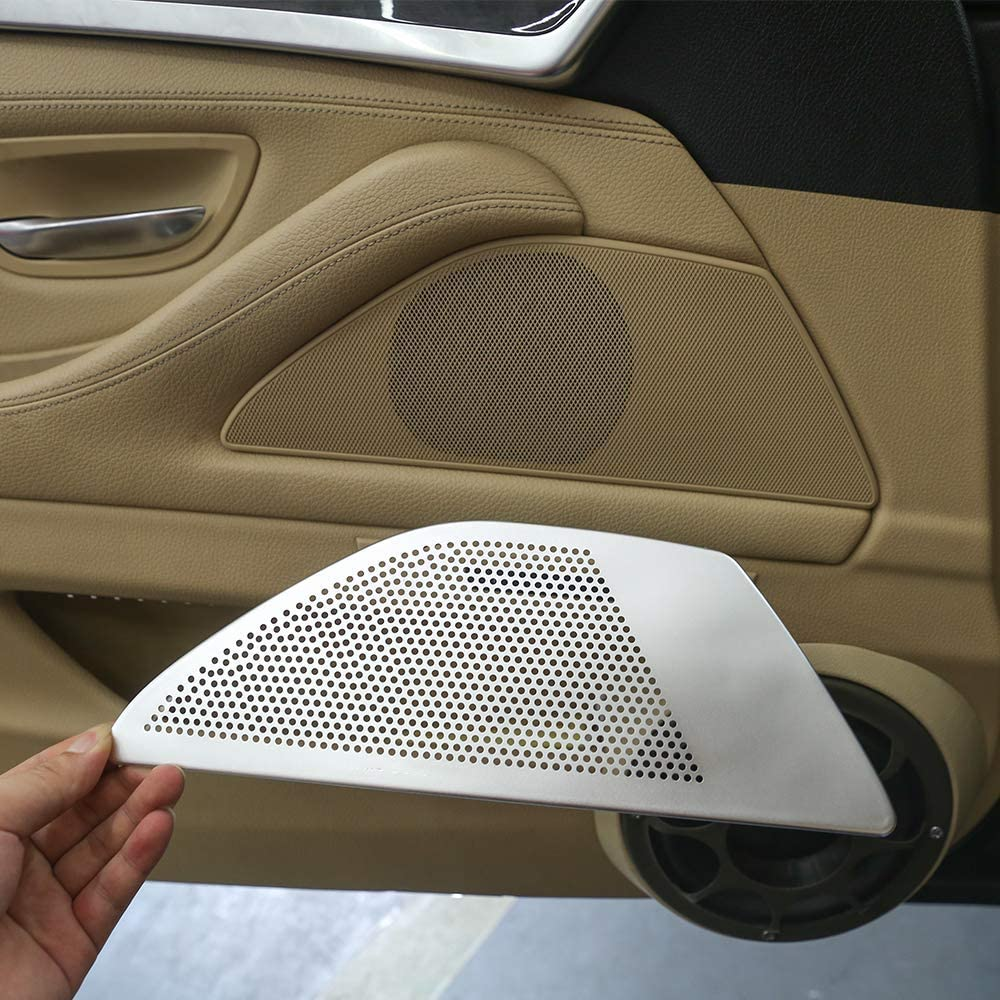 2 Pieces Door Speaker Trim Cover Accessories for BMW 5 Series F10 F11 2011 2012 2013 2014 2015 2016 ABS Chromeplate