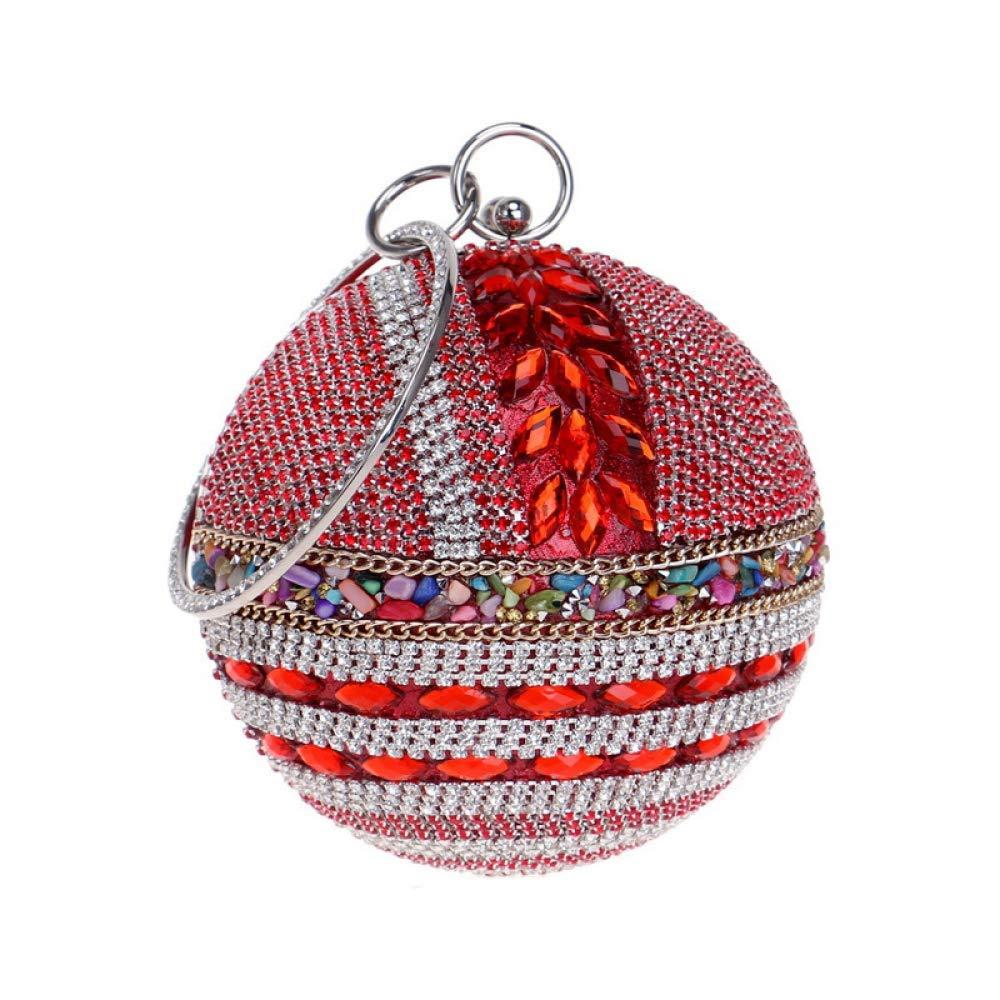 Red Soft Ladies Round Ball Clutch Bag Sparkly Diamond Evening Bag Wedding Purse Party Prom Wrist Bag Handbags Handbag (color   Red, Size   Diameter12cm)