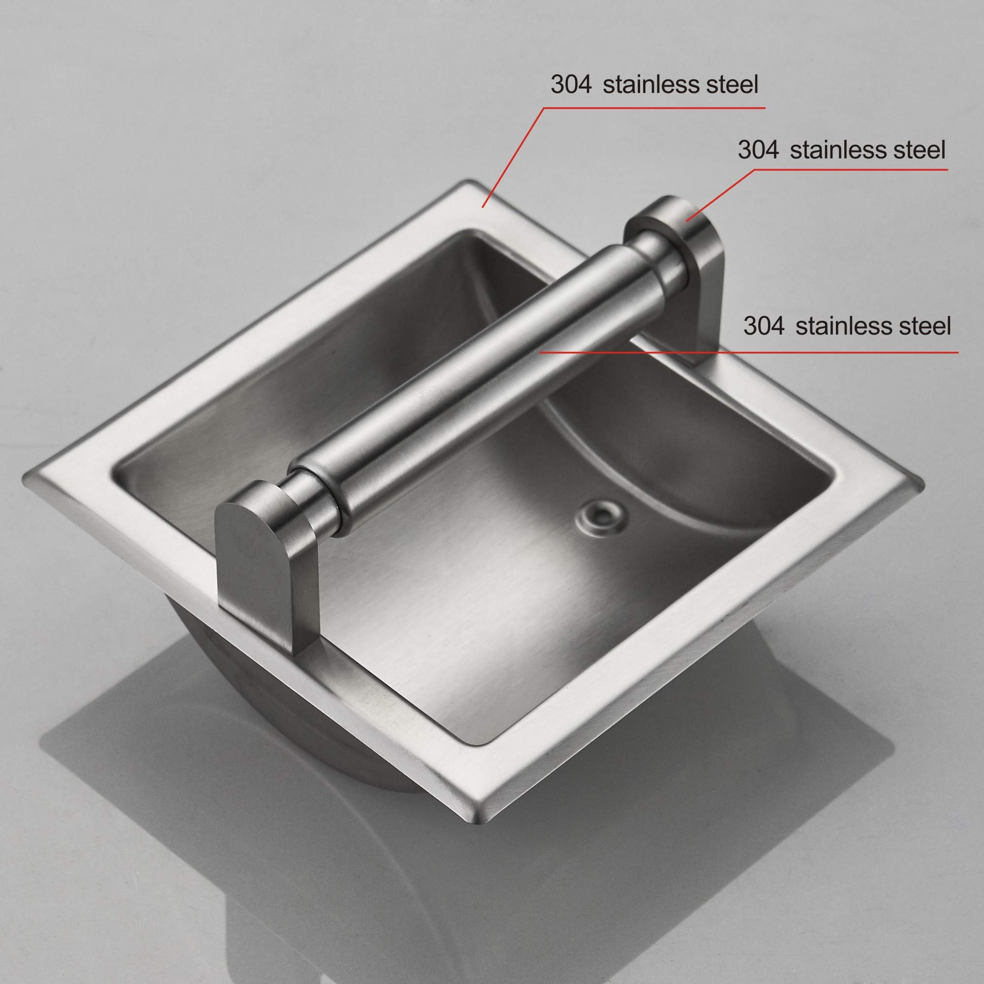 JunSun Brushed Nickel Recessed Toilet Paper Holder Wall Toilet Paper Holder Recessed Toilet Tissue Holder Stainless Steel Toilet Paper Holder Rear Mounting Bracket Included by JunSun (Image #2)