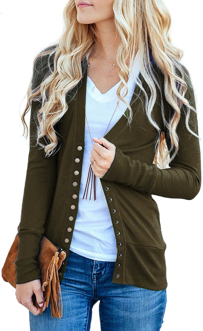 NENONA Women's V-Neck Button Down Knitwear Long Sleeve Soft Basic Knit Snap Cardigan Sweater(Army Green-S)