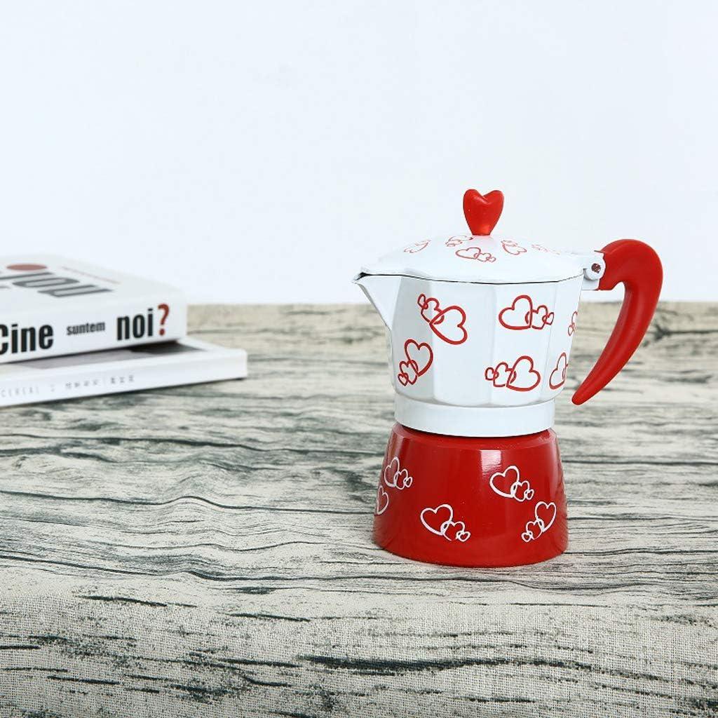 Design Elegante Caffettiera da 3//6 Tazze 3 Tazze Morbido e Tradizionale Moka Express in Alluminio Rosso