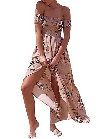 a6a2fe40e6 SHIBEVER Womens Floral Off The Shoulder Maxi Sundress Split Print Chiffon  Boho Summer Beach Dresses Khaki