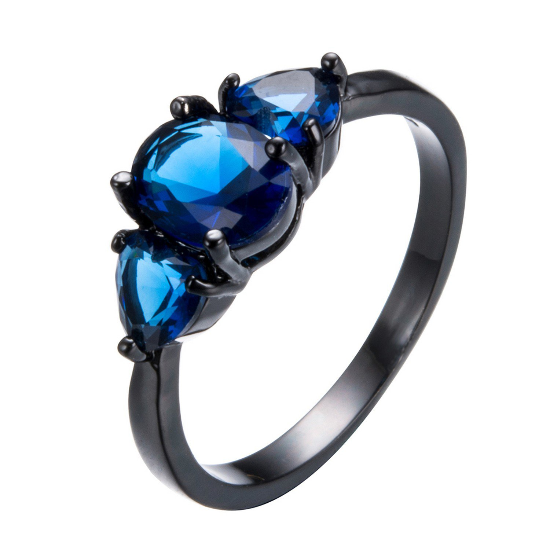 b85eae9ad0f96 Gemmart Vintage Blue Zircon Stone RingFor Female Male engagement ...
