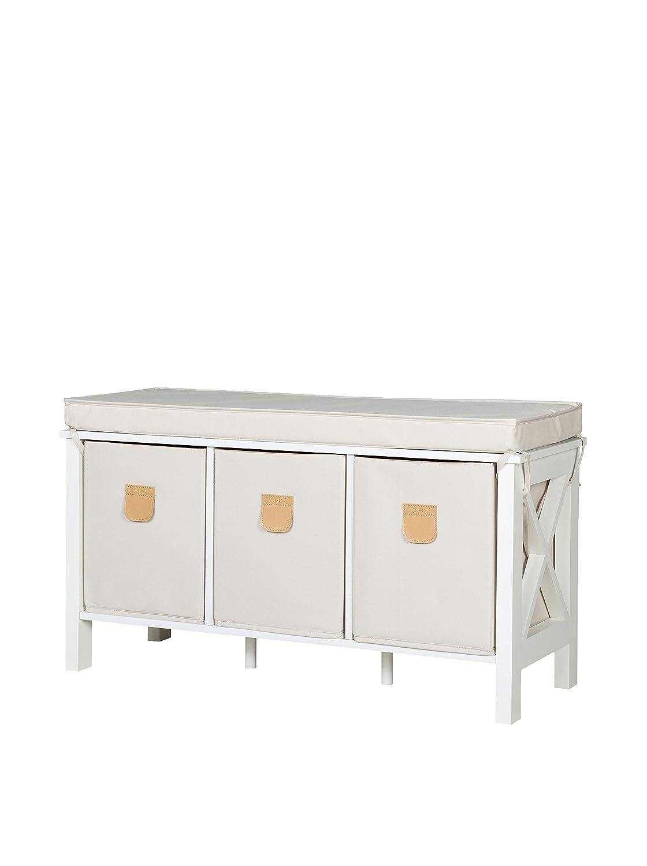 COUNTRY, Panca con cuscino e 3 contenitori in tela, 80 x 40 x 30 cm, Bianco (weiß) Phoenix-Group AG 73 51 02 we 735102WE_Weiss-80x40x30