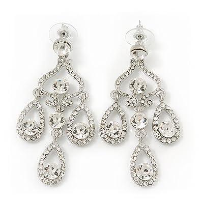 81f765811b73 Aretes para novia tipo candelabro con zc y cristales Swarovski claros con  en platinado de rodio de rodio  Amazon.es  Joyería