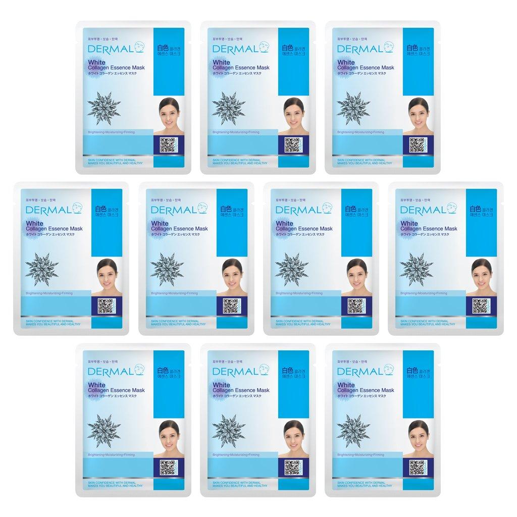 DERMAL White Collagen Essence Full Face Facial Mask Sheet 23g Pack of 10
