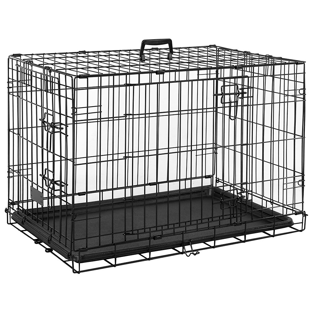 Home Discount Pet Cage Metal Folding Dog Puppy Animal Crate Vet Car Training Carrier With Tray 42 Inch