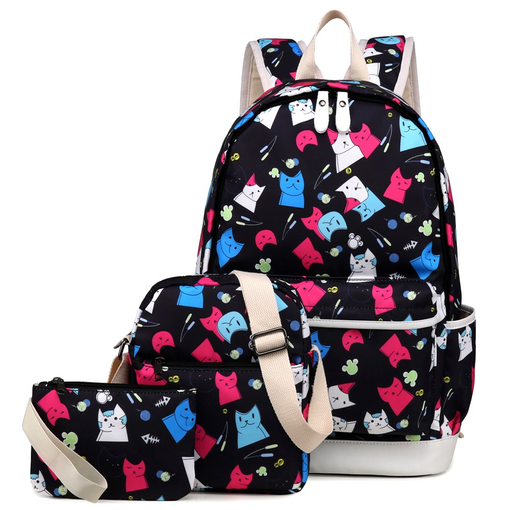 Kemy's Cat School Backpack for Girls Set 3 in 1 Cute Kitty Printed Bookbag 14inch Laptop School Bag for Girls Water Resistant Gift, Colorful