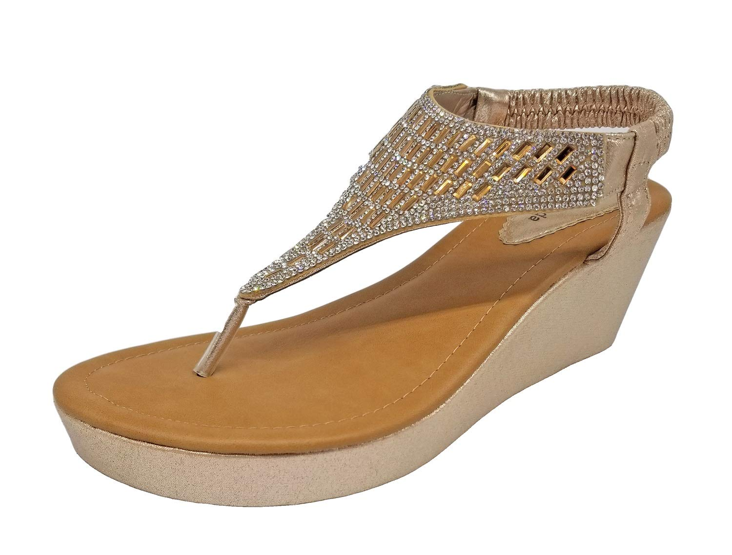 Top Moda OR-26 Women's Wedge Sandals Champagne 8.5 B(M) US