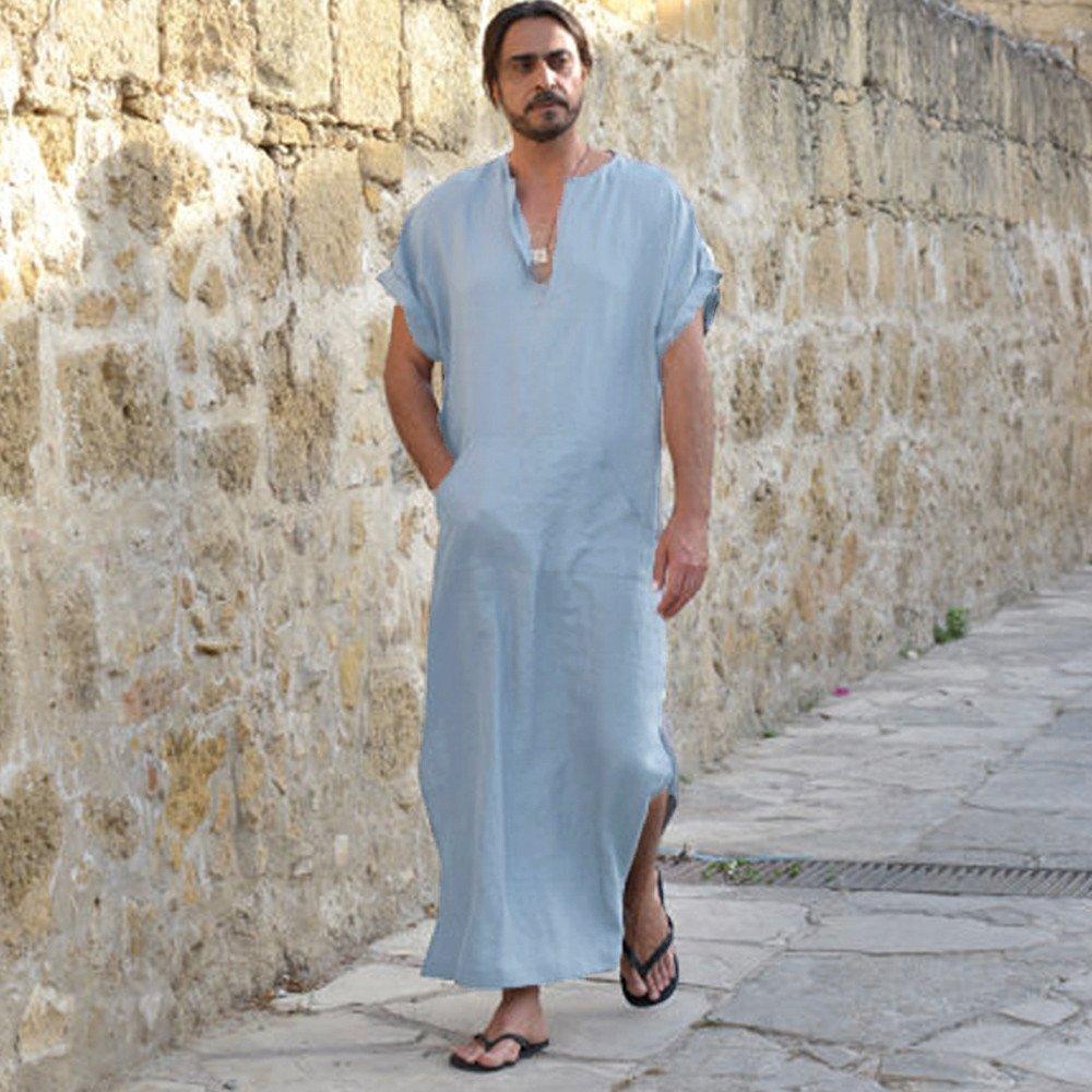... para Hombre Suelto A Rayas De Manga Larga con Capucha Vintage Casual Dress Kaftan Sudaderas con Capucha Top Blusa Camisas: Amazon.es: Ropa y accesorios