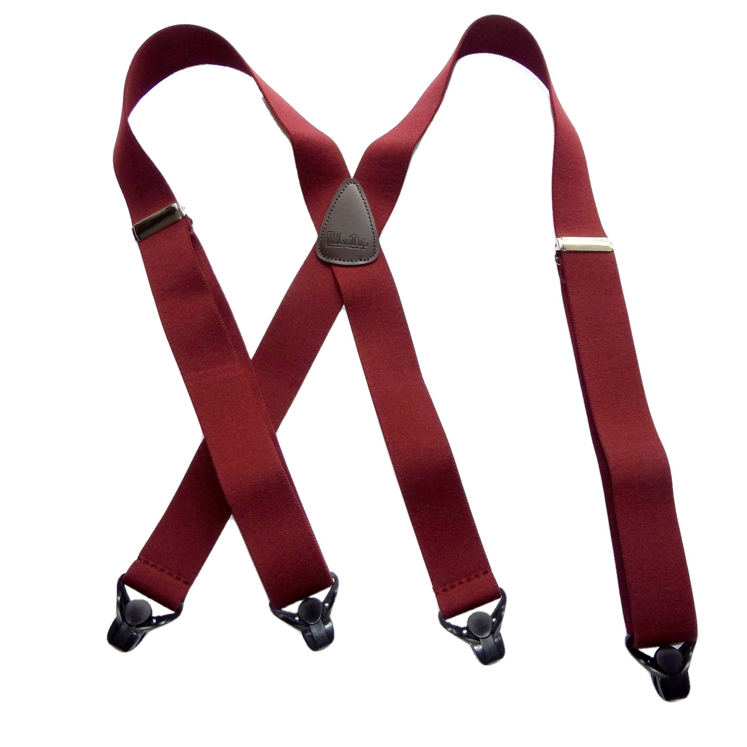 Holdup Classic 1 1/2'' Wide dark Burgundy Suspenders with Silver No-slip Clips and X-back