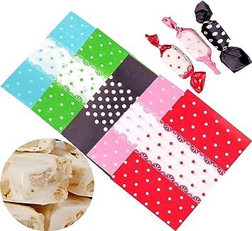 Liuer 500PCS Papel para Caramelos,Bolsas de Papel para Bodas Cumpleaños o Fiestas de Navidad Papel para Envolver los Dulces Golosinas Galletas ...