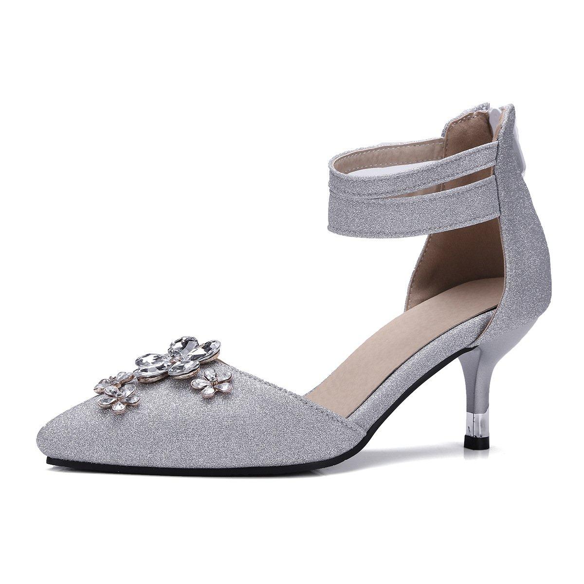 QIN&X Heels Frauen Spitze Zehe Stiletto Heels QIN&X Sandalen Silver 09e954