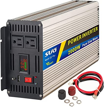novopal Power Inverter Pure Sine Wave-2000 Watt 12V DC to 110V//120V AC Converter 4 AC Outlets Car Inverter with One USB Port-5 Meter Remote Control and Two Cooling Fans-Peak Power 4000 Watt