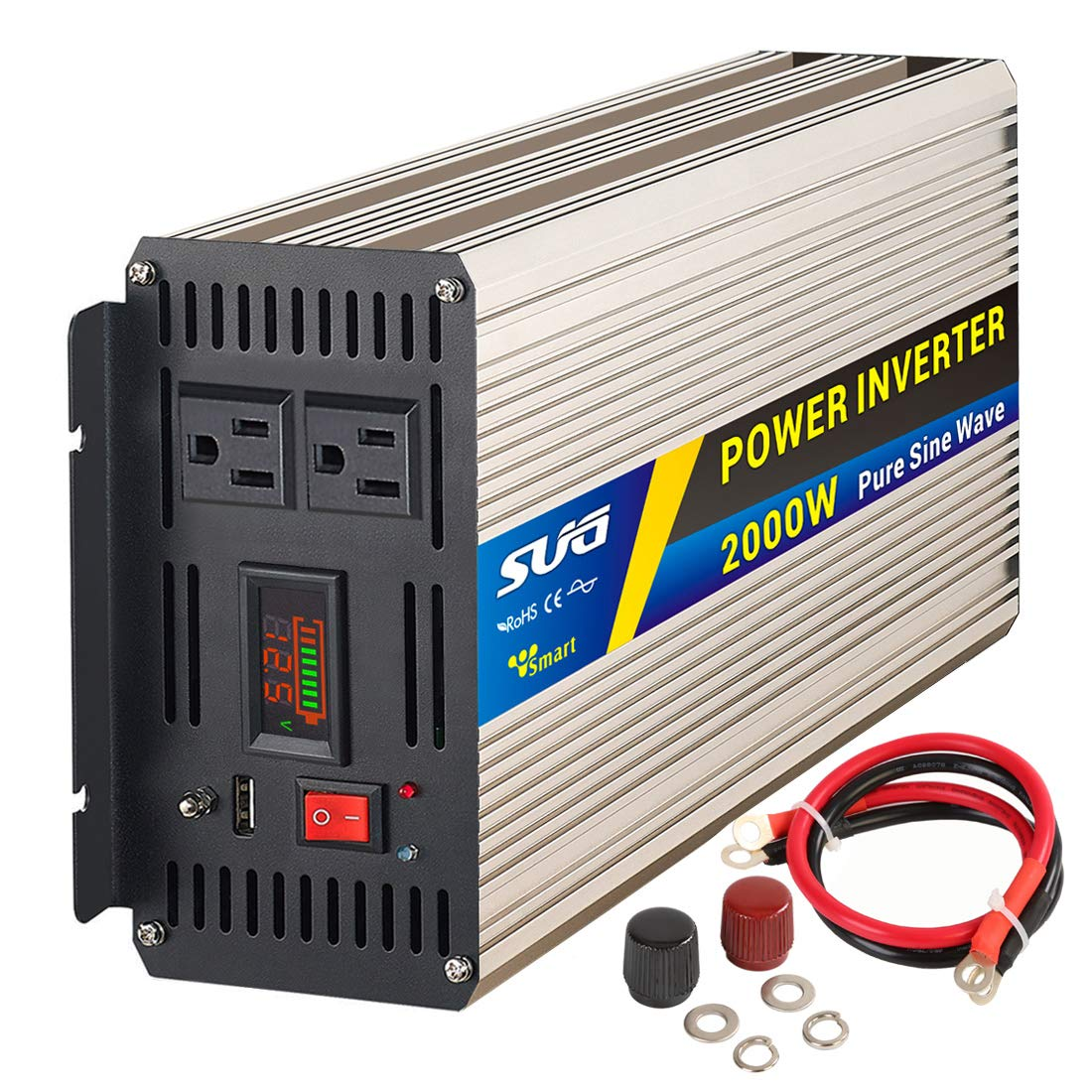 Sug 2000W Peak 4000W Power Inverter Pure Sine Wave DC 12V to AC 110V 120V Converter Back up Power Supply for RV, Home, Car Use
