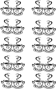 MIAO JIN 10 Pcs Coffee Tea Cup Art Wall Decal Sticker DIY Decal Wallpaper Wall Decor for Kitchen Home School Office Shop Cafe Pub Restaurant Hotel (Black)