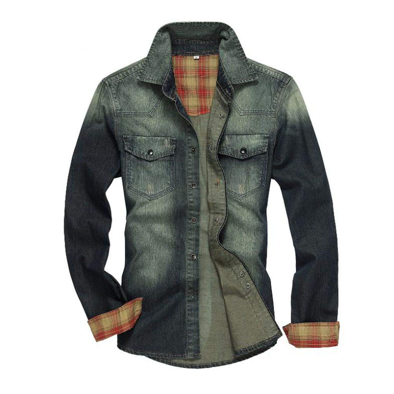2d3d42a41 I m good at you Men Shirt 2019 New Denim Shirt Mens Casual Shirts Long  Sleeve Fashion Slim Jeans Shirts at Amazon Men s Clothing store