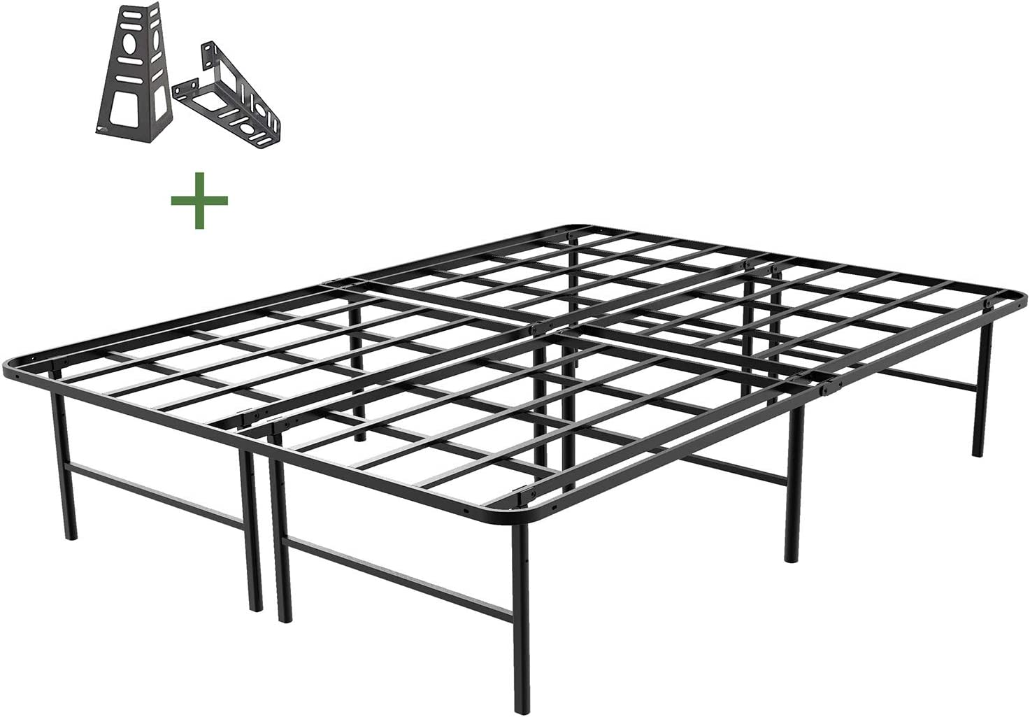 45MinST 16 Inch Platform Bed Frame 2 Brackets Included Mattress Foundation 3000LBS Heavy Duty Extremely Easy Assembly Box Spring Replacement Quiet Noise-Free, Twin XL Full Queen King Cal King Queen