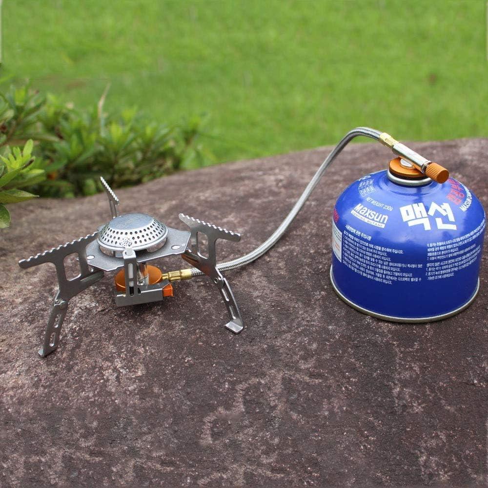 Pulchram 3500W Estufa de Gas Plegable para Acampar con Encendido Piezoeléctrico, Estufa Portátil Al Aire Libre para Cocinar con Estuche Portátil