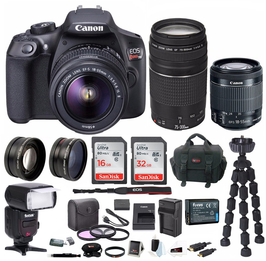 Canon EOS Rebel T6 Digital SLR Camera w/ 18-55mm & EF 75-300mm Lenses & Bounce Zoom Swivel TTL Flash Gun & 48GB SDHC Memory + Double Battery Supreme Bundle