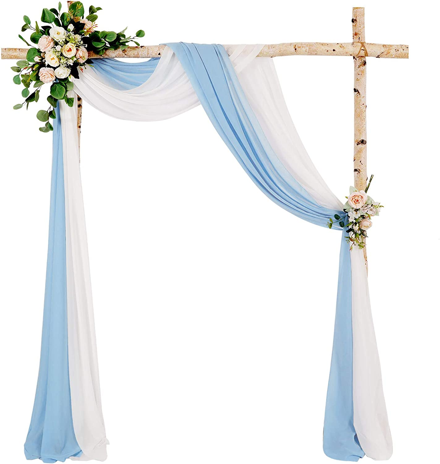 Chiffon Arch Draping Panels 2 Packs 6 Yards White and Baby Blue Wedding Drapery Fabric for Reception Stage Baby Shower Swag Decor