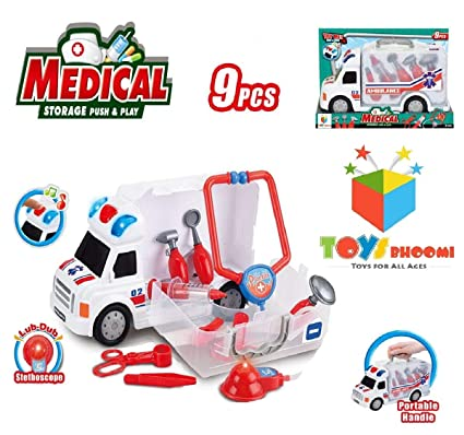 Toys Bhoomi 9Pcs Junior Doctors Medical Storage Toy Truck Vehicle Carrier  Car Case with LUB-Dub Stethoscope for Kids (661-172)