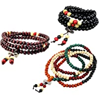 ULTNICE Prayer Beads Bracelet Meditation Buddhist Bracelet Wooden Chain Bracelet 3pcs