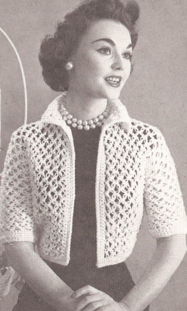 Amazon Vintage Crochet Pattern To Make Knot Lace Bolero