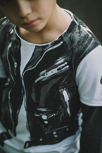 65c0ed0fe107 Amazon.com  Mini Shatsu Baby Boys  Rock Leather Jacket Vest Twofer ...