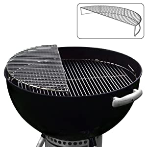The Original Upper Deck Stainless Steel Grill Rack/ Warming Rack /Smoking Rack/ Charcoal Grill Grate- Use with 22 Inch Weber Kettle Grill- Weber Grill Accessories and Grill Tools Grill Racks