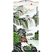 Zzooi Chinese Landscape Waterfall Wall Hanging Silk Printed Scroll Painting for Attract Wealth and Good Luck,Fengshui…