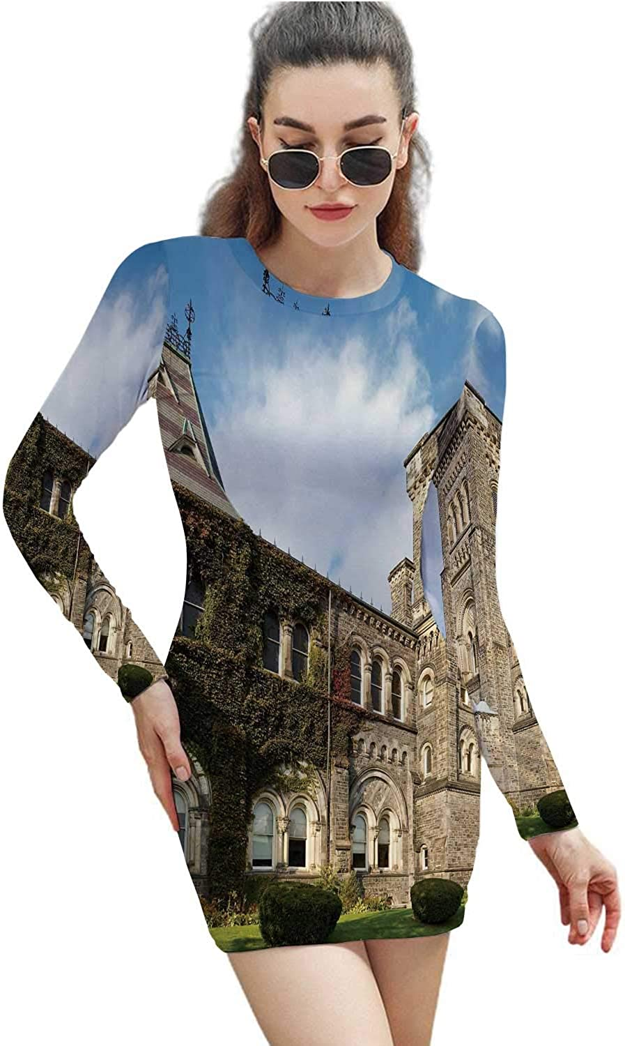 Old Buildings in University of Toronto,Sheath Dresses Bodycon Dress for Women Early Fall S
