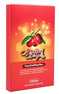 MiralandBerry Miracle Fruit, Miracle Berry (10 Whole Berries), Freeze Dried, Not Tablet
